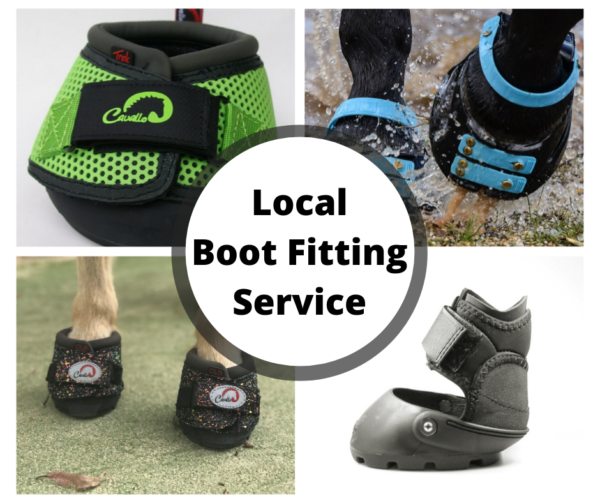 Four pictures featuring Green Cavallo Boots, Scoot Boots on Hooves with blue straps, Easycare Boots and Sparkely Cavallo Mini Boots on hooves.