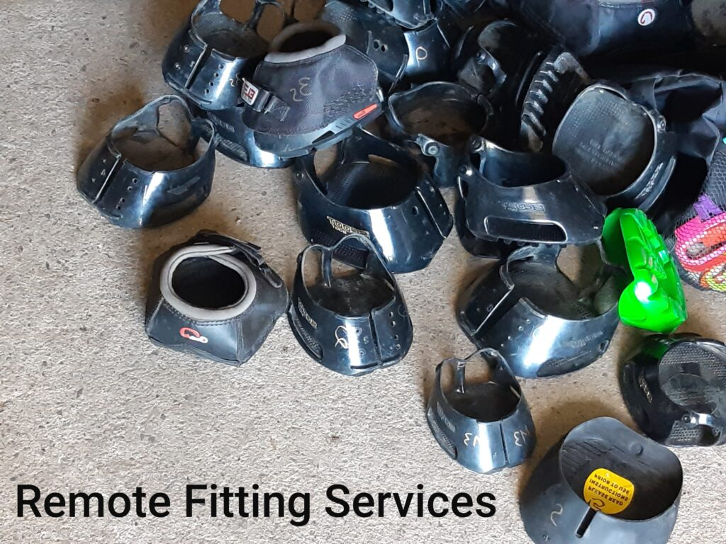Pile of boots used for remote fitting services.