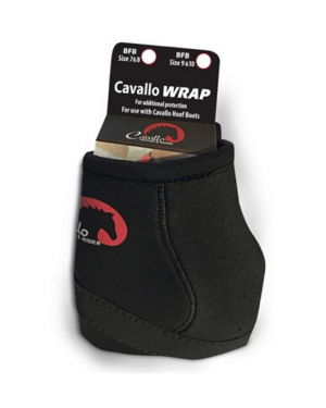 black cavallo big foot boot pastern wraps in packaging with white background