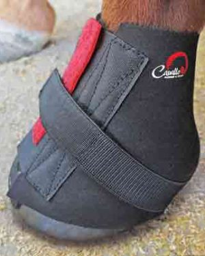 close up view of horse hoof wearing cavallo pastern wrap