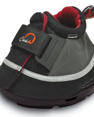 single black, red and white cavallo transport air boot with white background